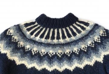 Isländischer Pullover - Handgestrickt - dunkelblau