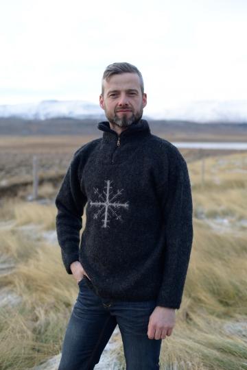 Isländischer Damen & Herren Troyer KIDKA - schwarz