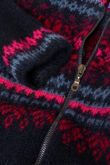Kapuzen-Strickjacke 008 - schwarz/rot