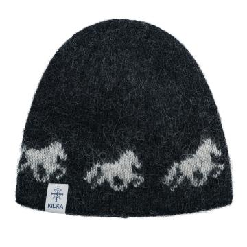 Wollmütze Islandpferde - One size - schwarz