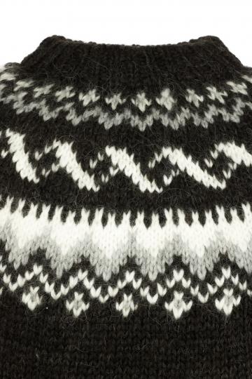 Isländischer Pullover Handgestrickt HSI-216 - dunkel-braun