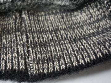 Isländische Strickmütze KID-085 - Grau / Schwarz