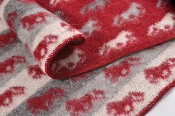 KIDKA 088 Tagesdecke Schurwolle - Islandpferde - rot