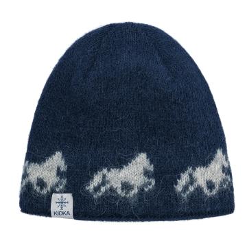Strickmütze Islandpferde - dunkelblau