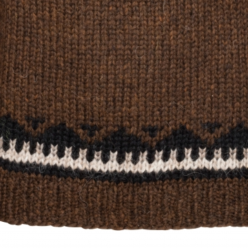 Handgestrickter Rollkragen-Pullover HSI-218 - schoko-braun