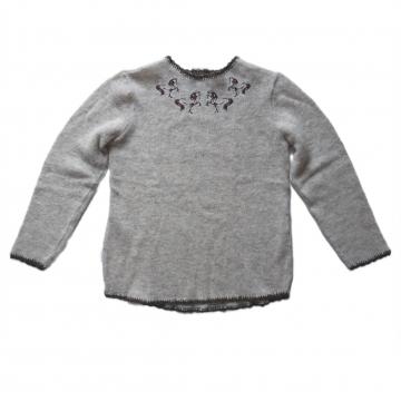 Dünner Wollpullover - Islandpferde Motiv - Beige