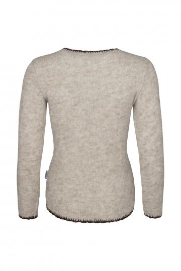 Leichter Wollpullover - Beige - mit Stickerei