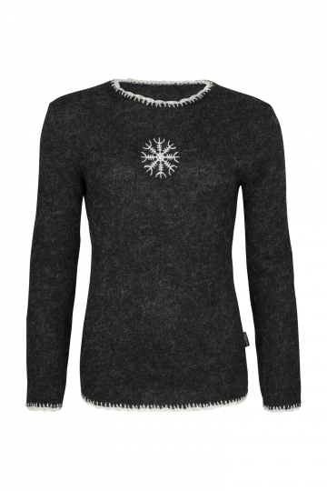 Light icelandic Jumper with nordic symbol - black