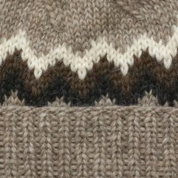 Rustikale Wollmütze - Handgestrickt - Braun