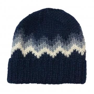 Handgestrickte Wollmütze mit Umschlagrand - Dunkel-Blau