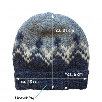 Isländische Wollmütze mit Umschlagrand - Hell-Blau