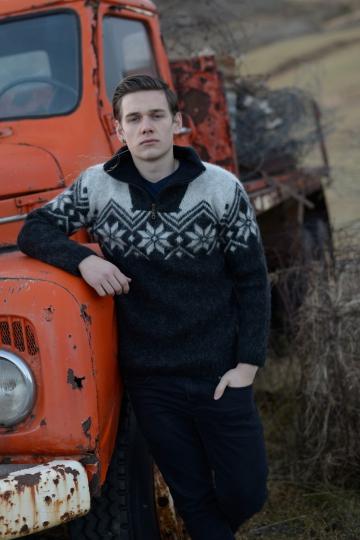Wollpullover 009 - Troyer - schwarz kombi