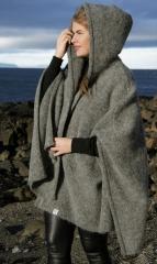 KIDKA 097 Damen Strick-Umhang Islandwolle - grau