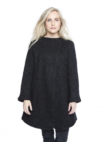 VARMA Gjóla - Damen Lang-Jacke - schwarz