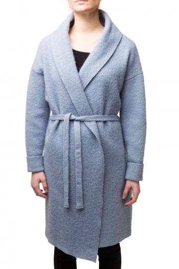 Damen Woll-Mantel - blau