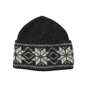Wollmütze mit skandinavischem Muster - dunkelgrau