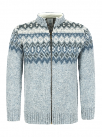 KIDKA 030 Damen Woll-Strickjacke, Cardigan, Islandpullover blau