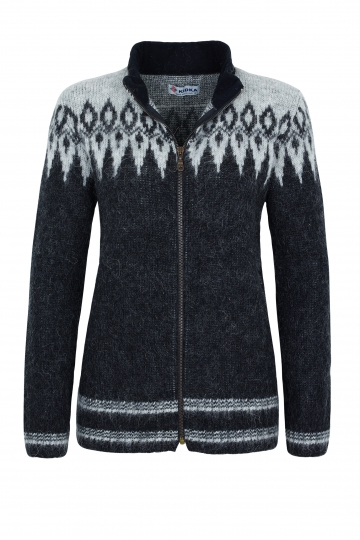 KIDKA 031 Damen Woll-Strickjacke - Cardigan - schwarz