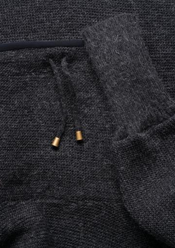 Strick-Poncho mit Kragen - schwarz