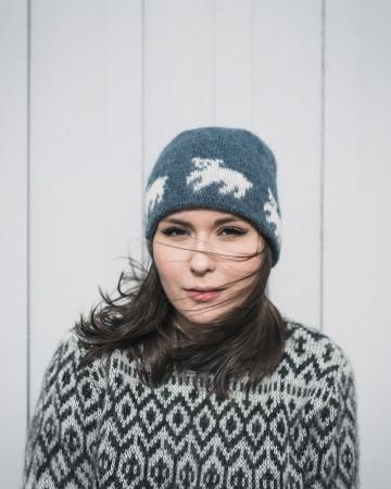 Isländische Strickmütze - Eisbärjunge - Blau