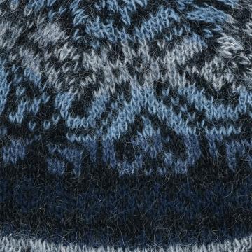 Gefütterte Wollmütze mit Ohrenschutz - blau-schwarz