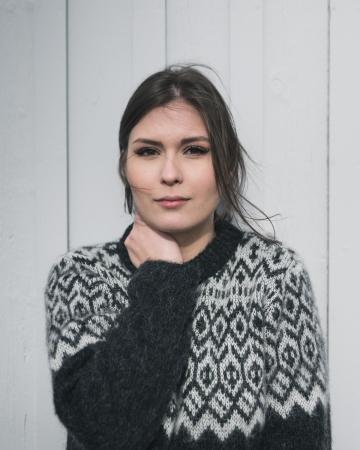 Herren / Damen Pullover Islandwolle - schwarz / weiß