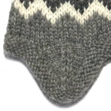 Wollmütze mit Ohrenklappen - Handgestrickt - grau