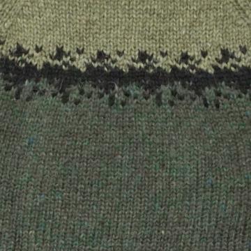 Handgestrickter Pullover - Wollpullover - grün / schwarz