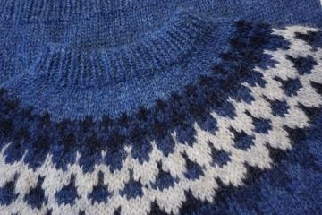 Handgestrickter Woll-Pullover HSI-245 - blau