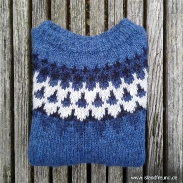 Handgestrickter Island-Pullover HSI-245 - blau