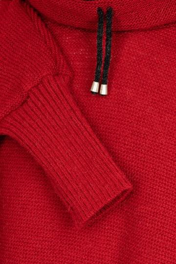 Damen Strick-Poncho mit Kragen - rot