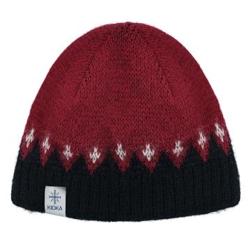 Isländische Wollmütze KID-041 - Rot / Schwarz
