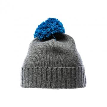 Bommel-Mütze - grau / blau