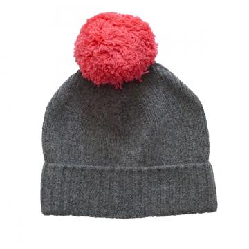 Bommel-Mütze - grau / pink