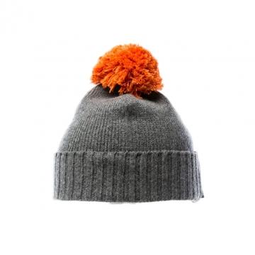 Bonnet de laine avec un pompon - gris / orange