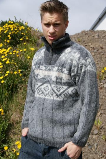 Wollpullover 043 - Troyer - grau