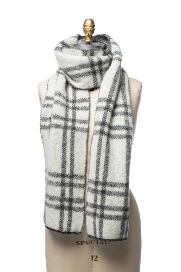 VARMA 092 - Schal mit Karomuster - grau / weiß
