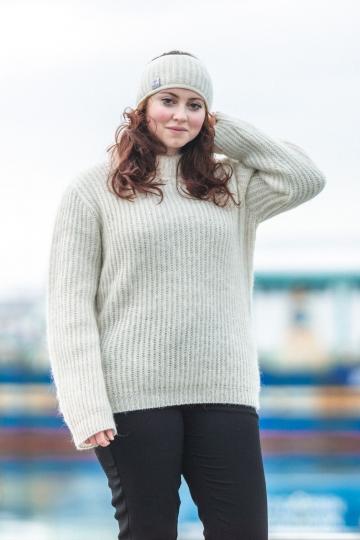 Isländischer Damen / Herren Wollpullover - weiß