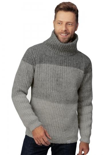 Isländischer Wollpullover mit Rollkragen - Blockstreifen - Grau