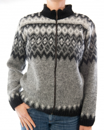 KIDKA 047 Womens Cardigan - Grey/Black/White