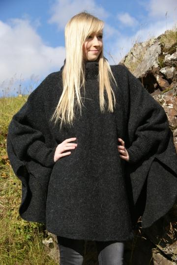 KIDKA 048 Damen Woll-Poncho Schurwolle - schwarz