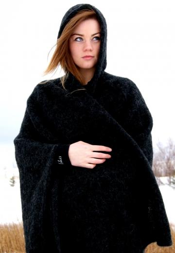 KIDKA 050 Damen Strick-Umhang Islandwolle - schwarz