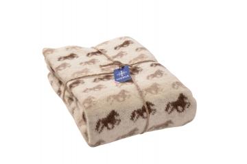 KIDKA 054 Wohndecke Islandwolle Beige - Islandpferde