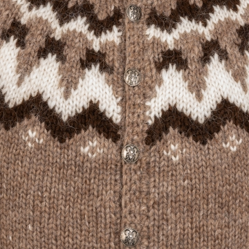 Isländischer Cardigan mit Knöpfen - Handgestrickt - braun