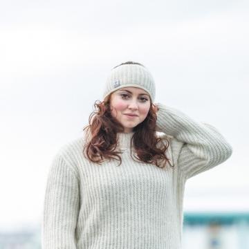 Breites Stirnband Islandwolle - mit Fleece