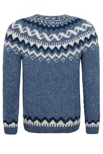 Isländische Strickjacke mit Knöpfen - Handgestrickt - blau