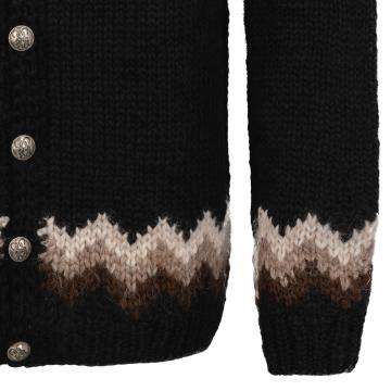 Isländische Strickjacke mit Knöpfen - Handgestrickt - schwarz