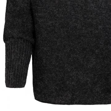 Kurz-Poncho mit Kragen - schwarz / schwarz