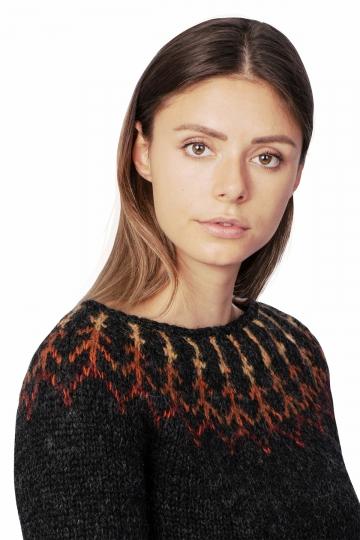 Damen Islandpullover - Lava - Handgestrickt - schwarz