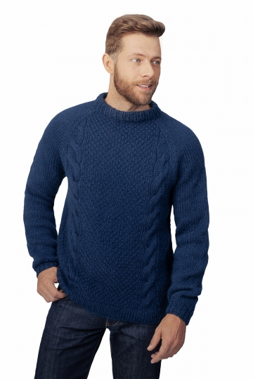 Handgestrickter Zopfmuster Pullover - dunkelblau